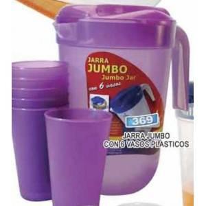 Jarra jumbo 4 litros con 6 vasos