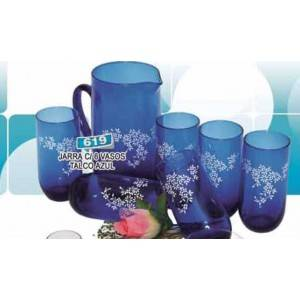 Jarra con 6 vasos azul talco