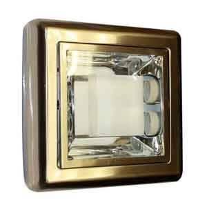 """Lámpara 9"""" cuadrada satinada, de 2 bombillos, 2X13W, E-27, 110-130V"""