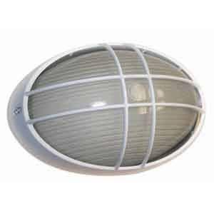 Lámpara ovalada de vidrio grande C/Rejilla tipo cruz color blanca, E-27, 100W, 110-130V